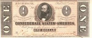 Confederate States $1 Dollar CR-574 Currency Banknote 1864 AU/UNC