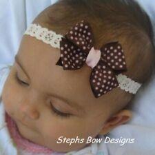 Brown w/ Soft Pink Dots Dainty Hair Bow Headband Fits Preemie Newborn Toddler