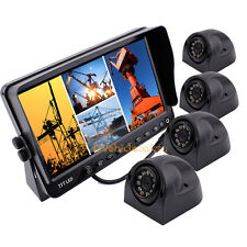 "7"" Quad Split Screen Monitor 4 x Side Backup Camera System For Truck Trailer"