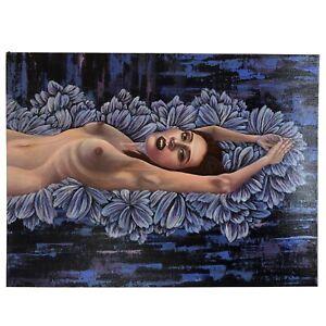 Weltall Nackte Frau Fantasie Acryl Gemälde Deco Original Bild Malerei Modern