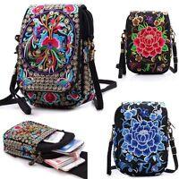 Latest Lady Cell Phone Bag Vintage Embroider Purse Wallet Messenger Bag Colorful