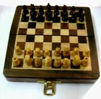 5'' Wooden Magnet Chess Set Chessman India with magnetic folding board Christmas