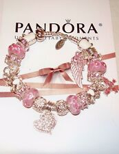 Authentic Pandora Sterling silver Bracelet with Heart,Butterflies European Charm