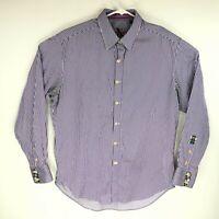 Robert Graham X Mens Purple Striped Long Sleeve Button Down Shirt Size XL