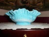 Fenton Art Glass ~ Blue Marble Slag Rose bowl Cabbage Milk Glass large bowl rare