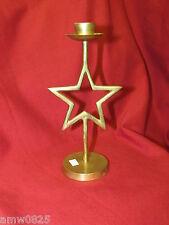 "Solid Brass Taper Candle Holder Star Design 7 3/4"" Vintage Candlestick Christmas"
