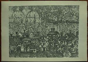 BERTO GIANPAOLO litografia VENEZIA 49x69 firmata prova d'artista