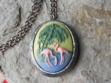 Plated Locket - Tropical - Vacation Pink Flamingo (S) Cameo Antiqued Silver