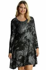New Black & Silver Sparkly GLITTER Christmas PARTY Swing Dress Top Size 16