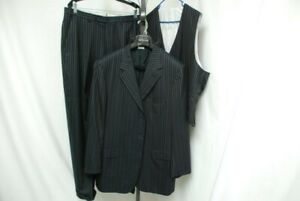 BRIONI men's 3 piece suit made to measure dark blue w/ stripes sz US 44L 44 long