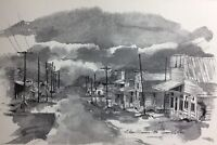 Olean Missouri 1973 Sketch Print Town Scene Black And White Beautiful