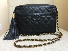 Auth CHANEL Quilted Camera Bag CC Gold Chain Tassel Black Caviar Leather VTG