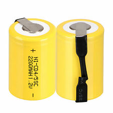 2pcs 4/5 Sub C SC 1.2V 2200mAh Ni-Cd NiCd Rechargeable Batteries With Tap,Yellow