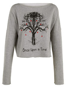 Once upon a time crop top sweatshirt womens ladies cardigan jumper pullover top