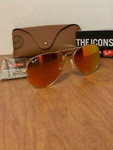 Ray-Ban Aviator Sunglasses RB3025 55mm 112/69 Gold Mirrored orange Flash Lenses