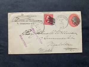1900 2c PSE FRIENDSHIP NY -MALDEN MA +UNCLAIMED+RETURN RTS+2c FORWARDED ! 8 PMKS