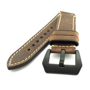 Vintage Dark Brown Leather Watch Strap Panerai Style (PVD, 22mm, 24mm)
