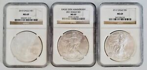 3) United States American Silver Eagles $1 Coin Lot 2010, 2011, & 2012 NGC MS69