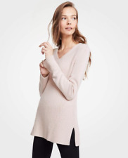 ANN TAYLOR Blush Nude Ribbed V-Neck Tunic Sweater Top Size S