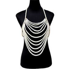 Shoulder Body Chain Harness Necklace Fashion Jewelry Statement Pearl Beads Armor