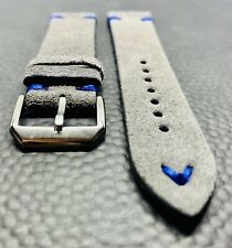20mm GRAY Vintage Suede Leather watch band strap BLUE stitch - Fast Shipping