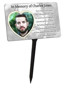 Your Photo Personalised Memorial Plaque & Stake. Heart, family garden grave
