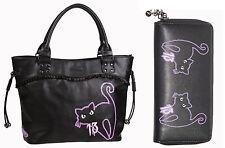 Banned 9 VITE Black Cat Kitty 13A BROKEN MIRROR Scuola Borsetta & Wallet Set