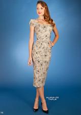 Stop Staring tan floral Alana pencil dress Medium UK 10-12 vintage style 1950s