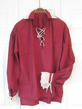 Renaissance - Men's Shirt - Pirate - Burgundy with Cream Lace