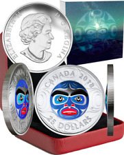 2018 Ancestor Moon Mask $25 1OZ Silver Proof High Relief Coin Canada MastersClub