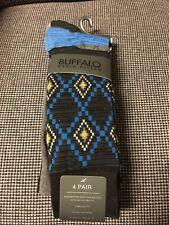 Men's Dress Socks 4 Pairs Blue/Striped by Buffalo David Bitton