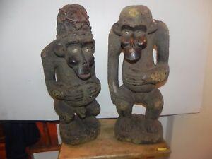 "Arts of Africa - Bamileke Ape Figure - Cameroon - 22.5"" Height x 11"" Wide (PAIR)"