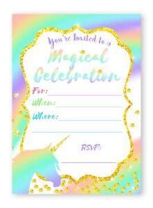 Unicorn Pastel LARGE Invitations Rainbow Party Invitations - 10 Invitations +