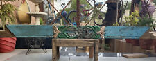 1700's Ancient Wood Fine Carved Floral Figure Green Painted Door Wall Panel Rare
