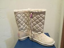 SKECHERS TWINKLE TOES NATURAL/GOLD LIGHTUP GLAM SLAM BOOTS GIRLS SHOES SZ 3 NEW