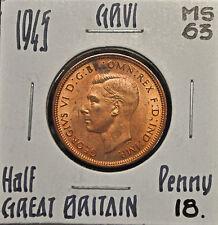 1945 Great Britain Half Penny MS-63