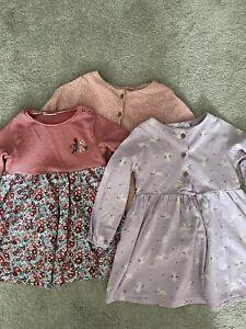 3 Baby Girls Next Long Sleeve Dresses 9-12 Months