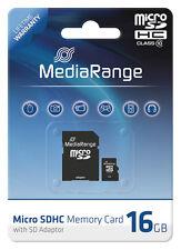 MediaRange Micro SDHC 16 GB Karte Speicherkarte mit SD Adapter Class 10