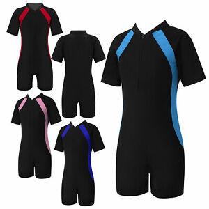 Kids Girls Boys Swimsuit Wetsuit Tummy Control Patchwork Beach Pool Bathing Suit