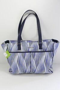 Vera Bradley Uptown Baby Diaper Bag Tote Navy blue White Wavy Stripe