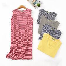 Ladies Cotton Nightdress Chemise Nightie Nightshirt Stripe With Sleeveless Plus