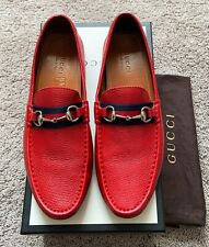 Authentic Gucci Horsebit Red Leather Mens Loafer US13 EU46 UK12