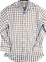 PETER MILLAR Button Down Dress Shirt Blue Brown Checker 100% Cotton Mens Sz L