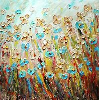Prairie Wild Flowers ORIGINAL Oil Painting Square  Canvas Wall Decor Art by Luiz