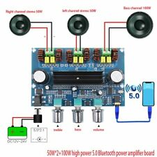 100W+50W*2 DC12~24V Bluetooth 5.0 High Power Amplifier Board 2.1 Digital AUX