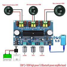 100W+50W*2 DC12~24V Bluetooth 5.0 High Power Amplifier Board 2.1 Digital AUX
