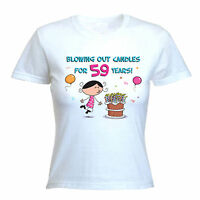 BLOWING OUT CANDLES FOR 59 YEARS 59TH BIRTHDAY T-SHIRT - Gift Present -Size S-XL