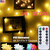 50LED Globe Ball String Lights Battery Operated Garden Home Party Xmas Wedding