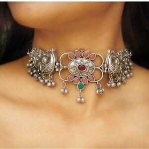 Silver Tribal Choker Necklace Peacock Design Silver Look Alike Women Jewelry