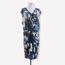 Calvin Klein Women's Plus Size 20W Dress Twist Front Stretchy Knee Length Blue